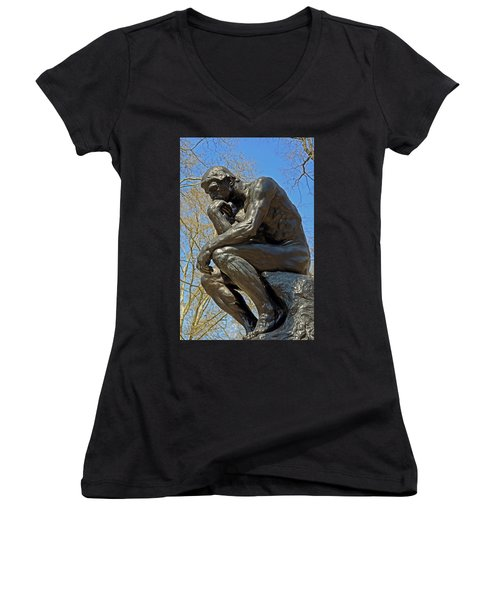 The Thinker By Rodin Women's V-Neck T-Shirt (Junior Cut) by Lisa Phillips