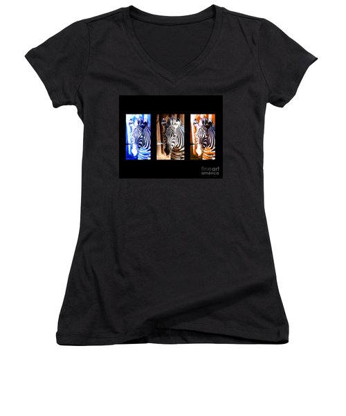 Women's V-Neck T-Shirt (Junior Cut) featuring the photograph The Three Zebras Black Borders by Rebecca Margraf