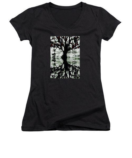 Women's V-Neck T-Shirt (Junior Cut) featuring the painting The Tree The Root by Amy Sorrell
