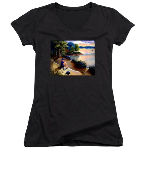The Wish To Fish Women's V-Neck T-Shirt (Junior Cut) by Renate Nadi Wesley