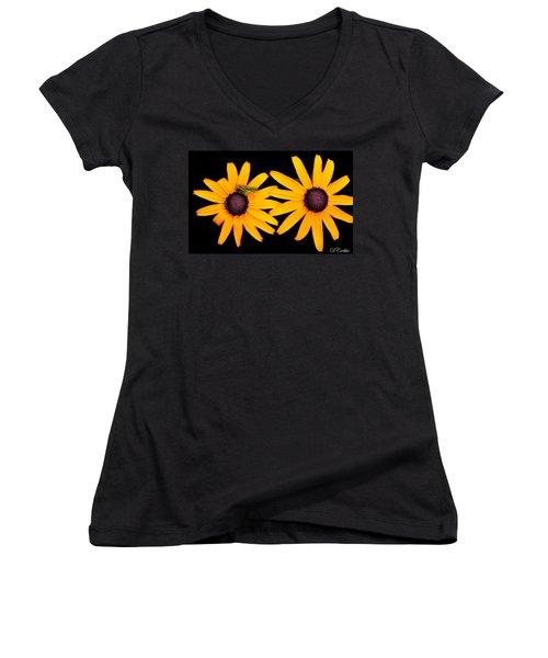 Women's V-Neck T-Shirt (Junior Cut) featuring the photograph The Yellow Rudbeckia by Davandra Cribbie