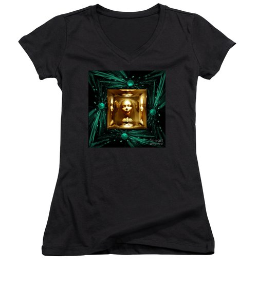Thoughts Mirror Box Women's V-Neck T-Shirt (Junior Cut) by Rosa Cobos