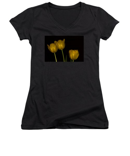 Women's V-Neck T-Shirt (Junior Cut) featuring the photograph Three Tulips by Ed Gleichman