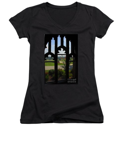 Women's V-Neck T-Shirt (Junior Cut) featuring the photograph Through The Chapel Arches by Cindy Manero