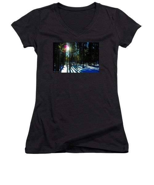 Women's V-Neck T-Shirt (Junior Cut) featuring the photograph Through The Trees by Shannon Harrington