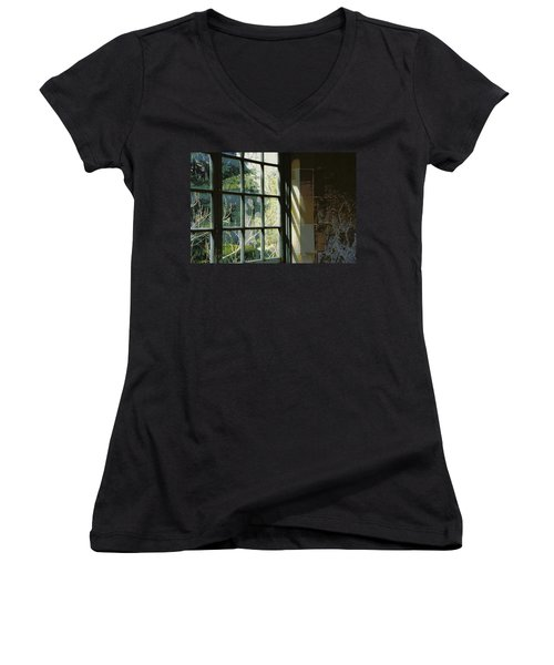 Women's V-Neck T-Shirt (Junior Cut) featuring the photograph View Through The Window by Marilyn Wilson