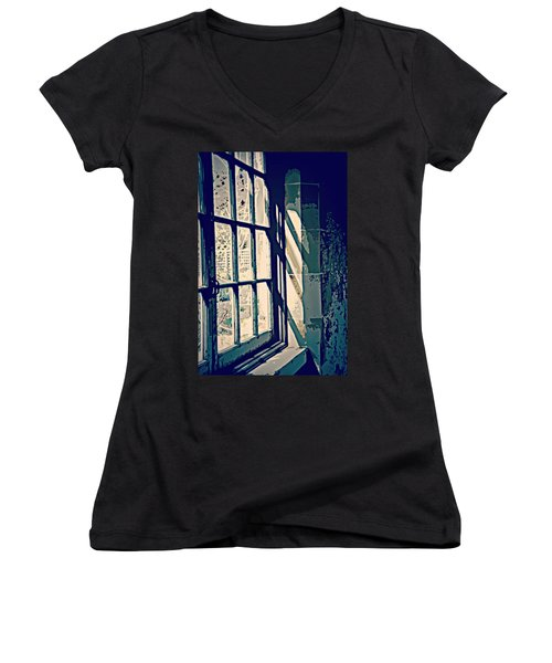 Women's V-Neck T-Shirt (Junior Cut) featuring the photograph View Through The Window - Painterly Effect by Marilyn Wilson