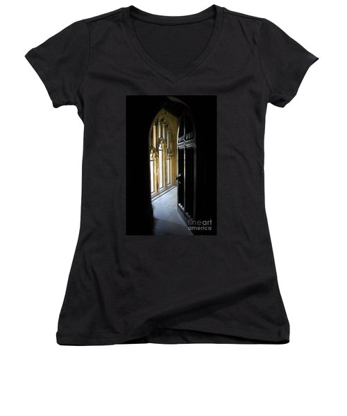 Women's V-Neck T-Shirt (Junior Cut) featuring the photograph Thru The Chapel Door by Cindy Manero