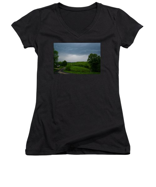 Women's V-Neck T-Shirt (Junior Cut) featuring the photograph Thunderstorm by Kathryn Meyer