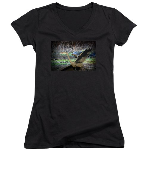 Women's V-Neck T-Shirt (Junior Cut) featuring the photograph Time To Leave by Dan Friend