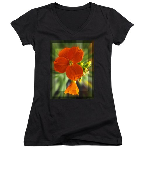 Women's V-Neck T-Shirt (Junior Cut) featuring the photograph Tiny Orange Flower by Debbie Portwood
