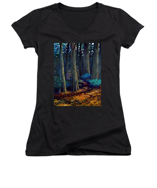 To The Woods Women's V-Neck T-Shirt (Junior Cut) by Jeanette Jarmon