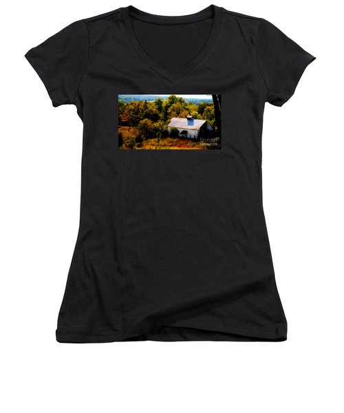 Women's V-Neck T-Shirt (Junior Cut) featuring the photograph Touch Of Old Country by Peggy Franz