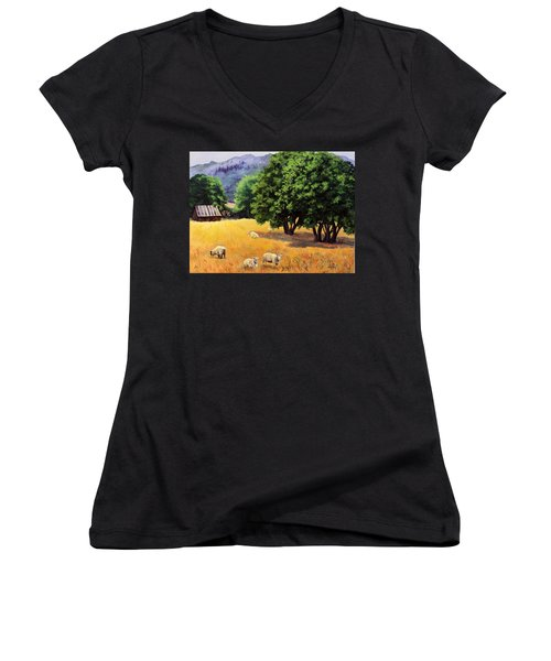 Tranquil Pastures Women's V-Neck T-Shirt