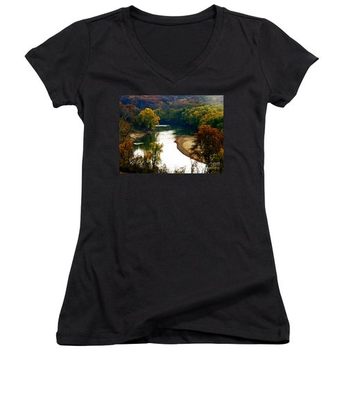 Women's V-Neck T-Shirt (Junior Cut) featuring the photograph Tranquil View by Peggy Franz