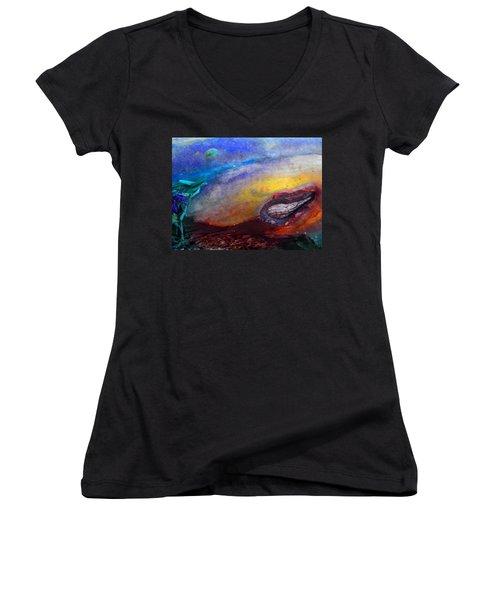 Women's V-Neck T-Shirt (Junior Cut) featuring the digital art Travel by Richard Laeton