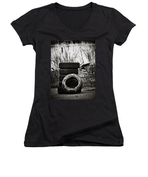 Tread Lightly Women's V-Neck T-Shirt (Junior Cut) by Jessica Brawley