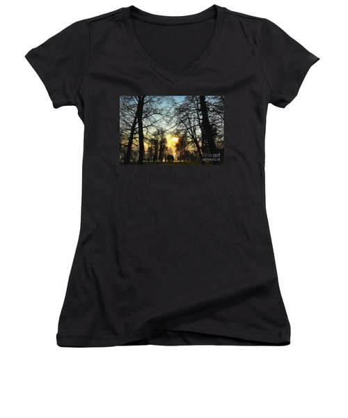 Trees And Sun In A Foggy Day Women's V-Neck