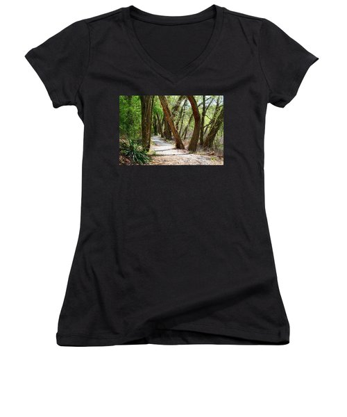 Women's V-Neck T-Shirt (Junior Cut) featuring the photograph Trestle Walk by Kathryn Meyer