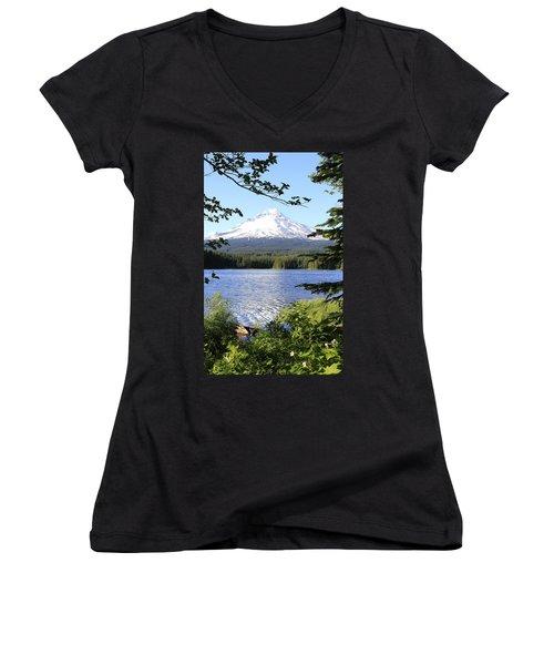 Women's V-Neck T-Shirt (Junior Cut) featuring the photograph Trillium Lake At Mt. Hood by Athena Mckinzie