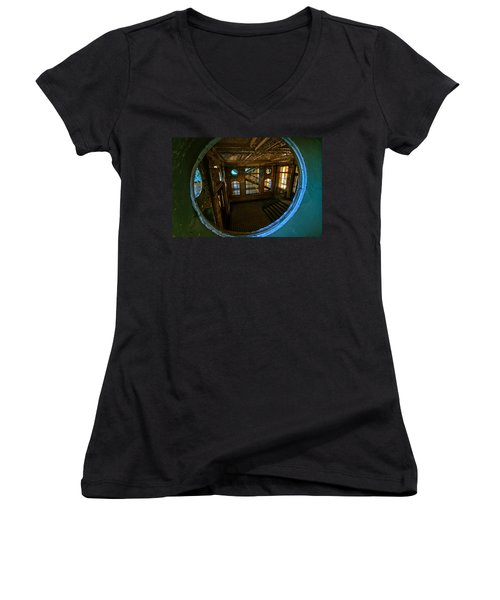 Trough The Round Window Women's V-Neck T-Shirt (Junior Cut) by Nathan Wright
