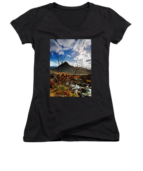 Women's V-Neck T-Shirt (Junior Cut) featuring the photograph Tryfan And Tree by Beverly Cash