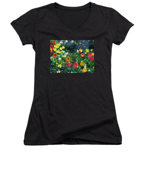 Tulips Dancing Women's V-Neck T-Shirt (Junior Cut) by Rory Sagner