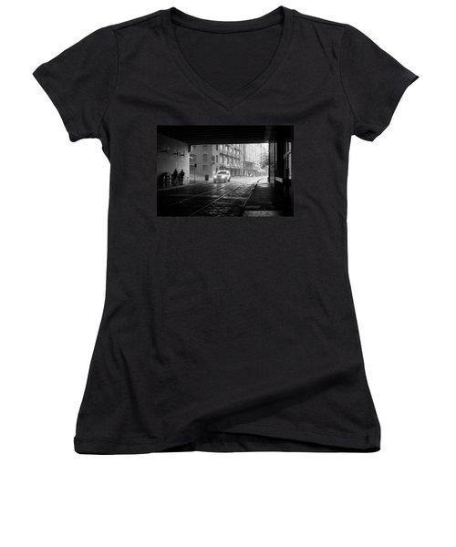 Women's V-Neck T-Shirt (Junior Cut) featuring the photograph Tunnel I by Lynn Palmer