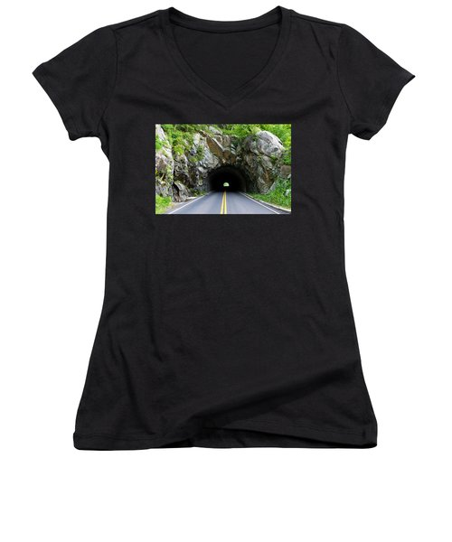 Tunnel On A Lonely Road Women's V-Neck