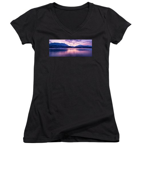 Twilight Above A Fjord In Norway With Beautifully Colors Women's V-Neck