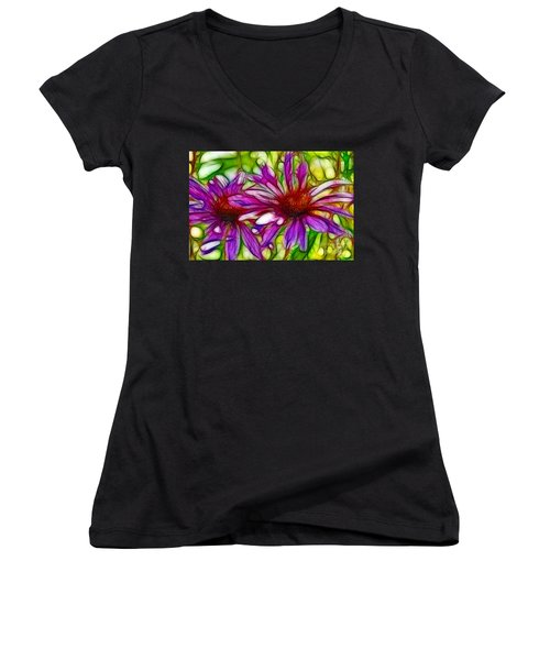 Two Purple Daisy's Fractal Women's V-Neck (Athletic Fit)