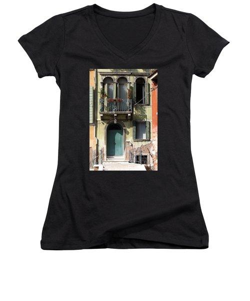 Women's V-Neck T-Shirt (Junior Cut) featuring the photograph Venetian Doorway by Carla Parris