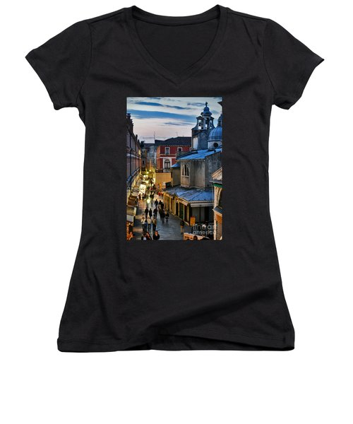 Venice From Ponte Di Rialto Women's V-Neck (Athletic Fit)