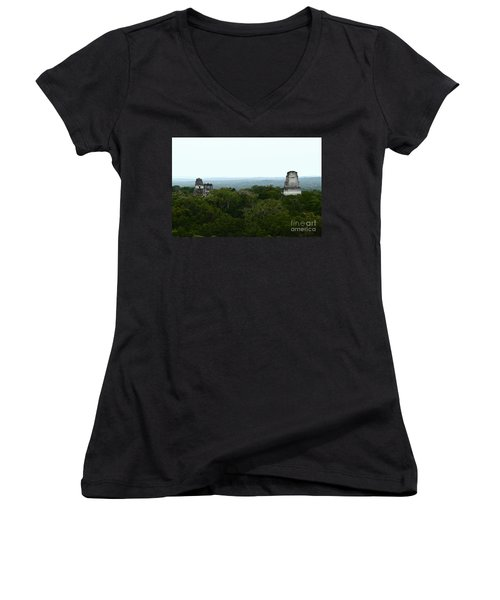 View From The Top Of The World Women's V-Neck T-Shirt (Junior Cut) by Kathy McClure