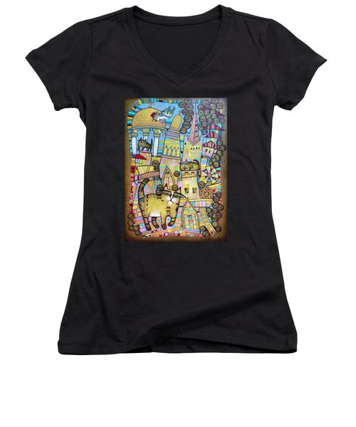 Villages Of My Childhood Women's V-Neck T-Shirt (Junior Cut)