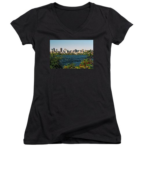 Women's V-Neck T-Shirt (Junior Cut) featuring the photograph Ville De Montreal by Juergen Weiss