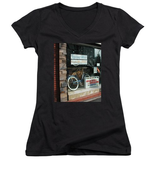 Vintage Bicycle And American Junk  Women's V-Neck T-Shirt (Junior Cut) by Anna Ruzsan