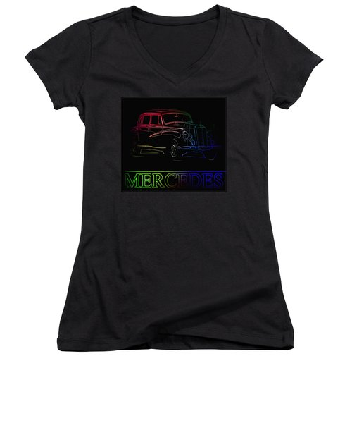 Women's V-Neck T-Shirt (Junior Cut) featuring the photograph Vintage Mercedes by George Pedro