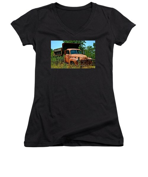 Women's V-Neck T-Shirt (Junior Cut) featuring the photograph Vintage Old Time Truck by Peggy Franz