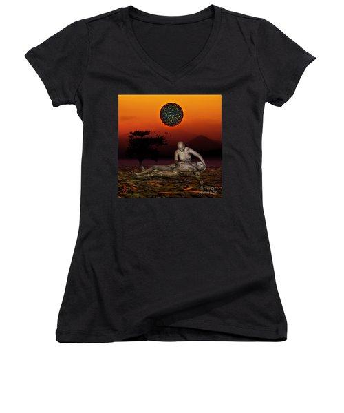 Women's V-Neck T-Shirt (Junior Cut) featuring the digital art Volcanos Pieta by Rosa Cobos
