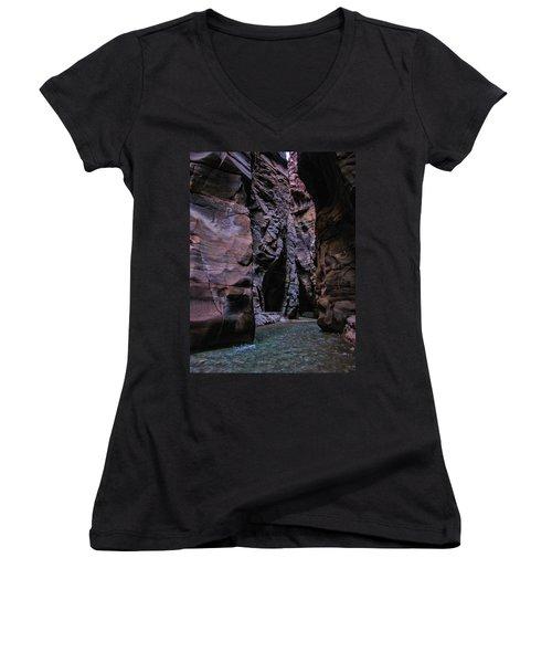 Wadi Mujib Jordan Women's V-Neck T-Shirt (Junior Cut) by David Gleeson