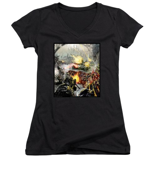 Wars Are Designed To Destroy  Women's V-Neck T-Shirt (Junior Cut) by Tony Koehl