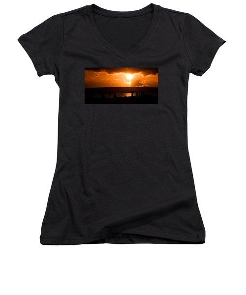 Watching Sunset Women's V-Neck T-Shirt (Junior Cut) by Yew Kwang