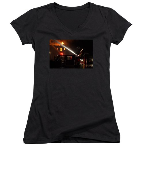 Water On The Fire From Pumper Truck Women's V-Neck T-Shirt (Junior Cut) by Daniel Reed