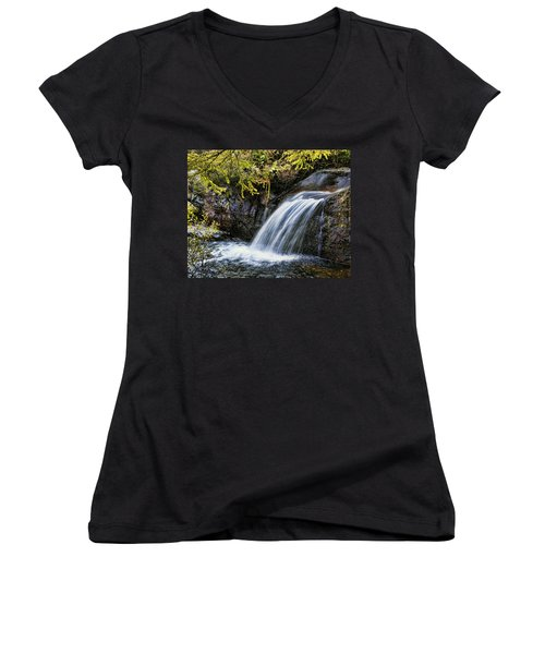 Women's V-Neck T-Shirt (Junior Cut) featuring the photograph Waterfall by Hugh Smith