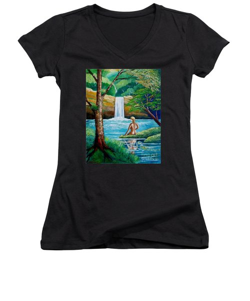 Waterfall Nymph Women's V-Neck (Athletic Fit)