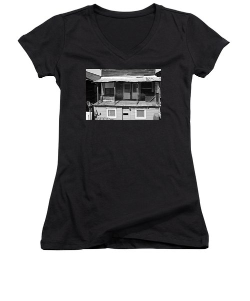 Weathered Home With Satellite Dish Women's V-Neck