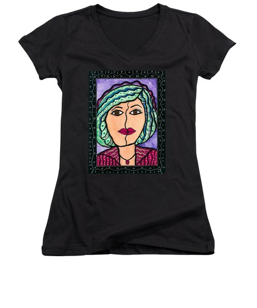What Lies Beneath Women's V-Neck T-Shirt (Junior Cut) by Vickie G Buccini