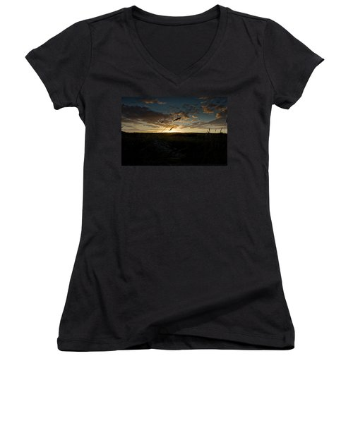 Women's V-Neck T-Shirt (Junior Cut) featuring the photograph Wheat Fields  by Beverly Cash