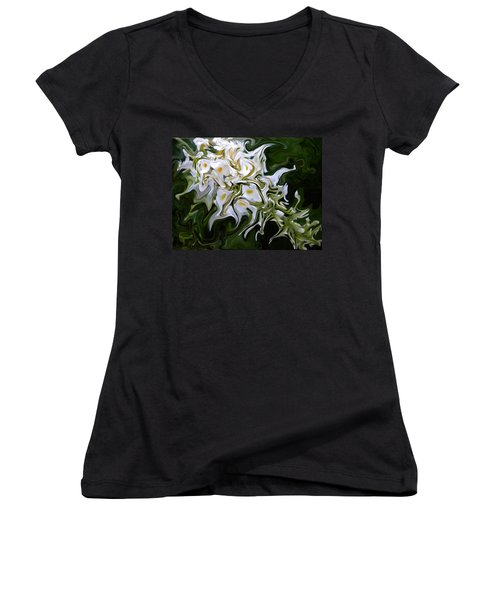 White Flowers 2 Women's V-Neck T-Shirt (Junior Cut) by Renate Nadi Wesley